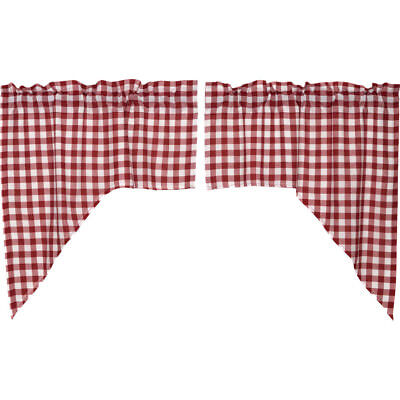 Buffalo Red Check Lined Swag Set of 2 by VHC Brands ()