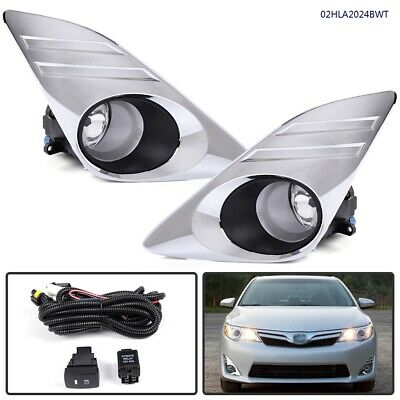 For 12-14 Toyota Camry LE/XLE Bumper Fog Lights Lamp + Bulb + Chrome Cover+Relay