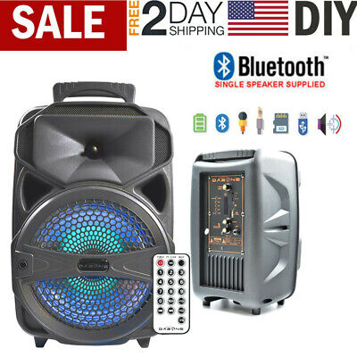 """8"""" Portable BT Bluetooth Party Speaker Subwoofer Heavy Bass Sound System 1000W"""