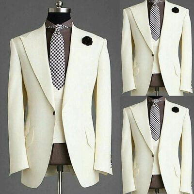 Ivory Men Suits For Wedding Slim Fit Groom Tuxedos Best Man Prom Peak Lapel