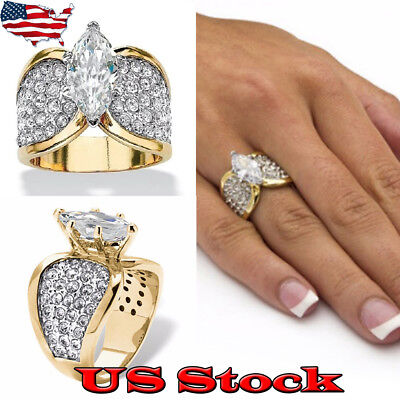 18K Gold Color Horse Eye Zircon Ring Women's Fashion Wedding Engagement Jewelry - Eye Rings