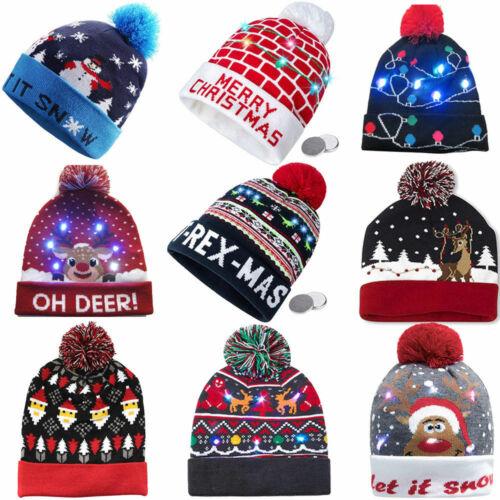 Weihnachtsmütze LED Nikolaus Mütze Kinder Weihnachtmützen Blinkend Hut Party
