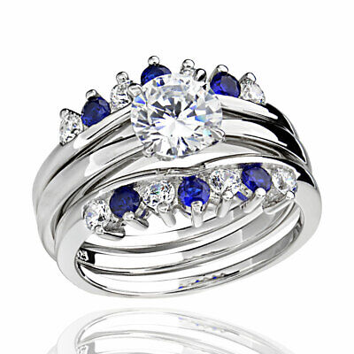 Sterling Silver Cubic Zirconia Simulated Sapphire Blue Women Wedding Rings (Blue Sapphire Cubic Zirconia Ring)