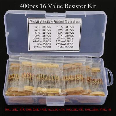 400pcs 16 Values 5 10 - 1m Ohm 12 Watt Metal Film Resistors Assortment Kit Set