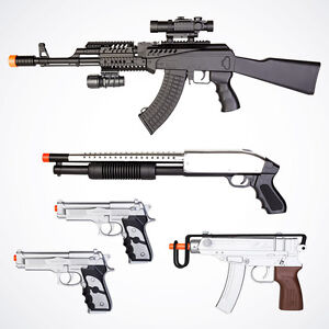 NEW Lot of 5 Airsoft Gun AK47 Spring Rifle Shotgun Uzi Beretta Pistols w/ 1k BBs
