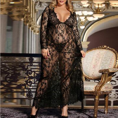 Long Negligee - Sexy Womens Negligee Lingeries Lace Beautiful Plus Size Sheer Mesh Long Pajamas
