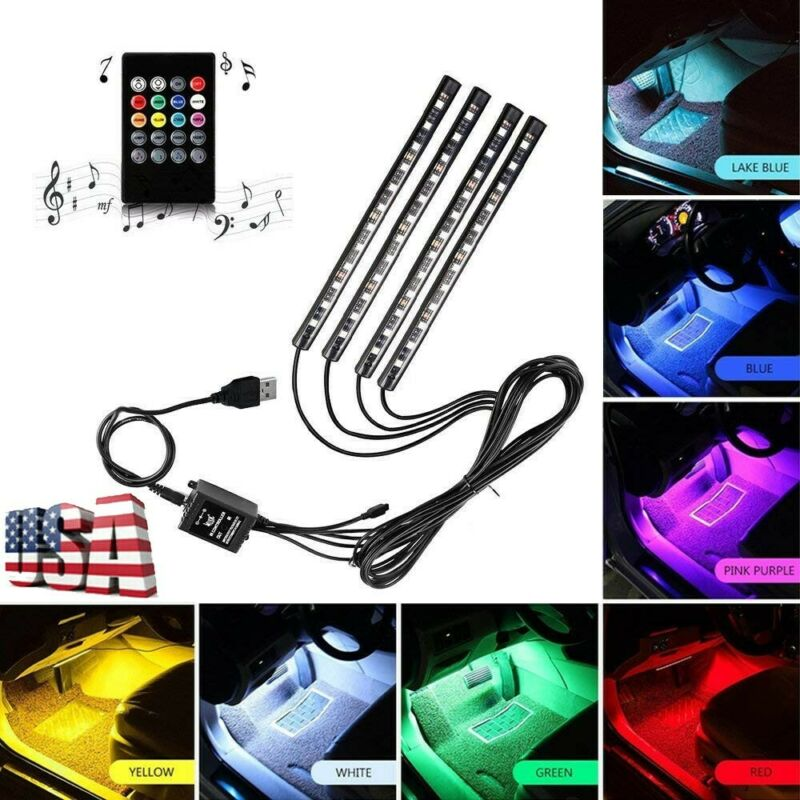 7-Color RGB LED Neon Strip Light Music Remote Control For Ca