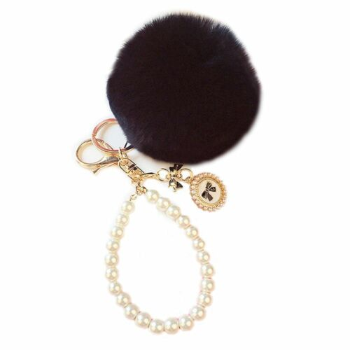 Fluffy Ball Key Ring Soft Car Pendant Charm Rabbit Fur Handbag Key Chain Pom
