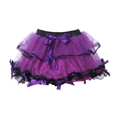 Mini-Petticoat TUTU mit SCHLEIFEN LILA/SCHWARZ Fasching Karneval S-L - Kostüm Tutu Schwarz