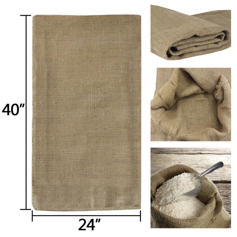 "6 Pack Jute Burlap Bags Sandbags Potato Sacks - 40"" x 24"" - Gunny Sack Race Bag"