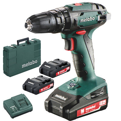 Metabo 602245520 Sb 18 Cordless Hammer Drill 3 Batteries Kit New
