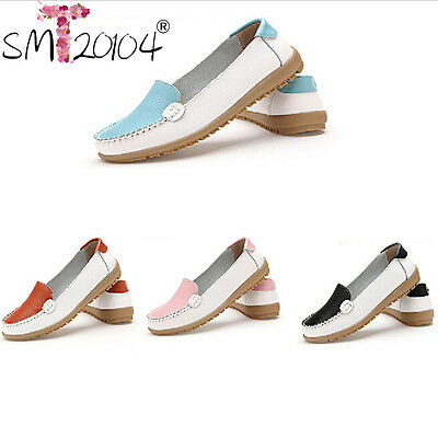 Fashion Women Casual Flat Shoes Slip On Round Toe Leather Comfort Shoes Loafers