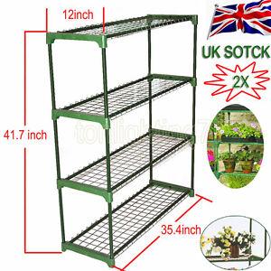 2x Greenhouse Staging Shed Garage Storage Steel Shelving Shelves Racking Unit