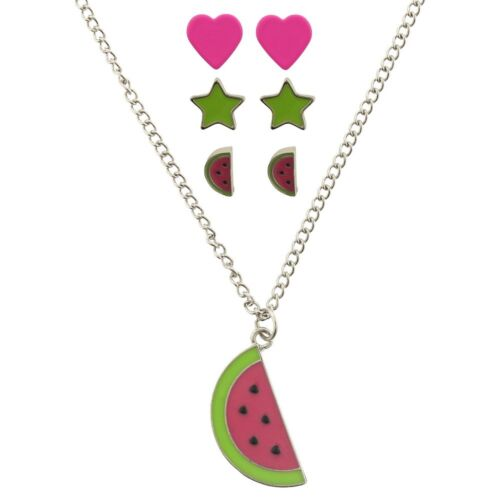 4-Pack Toddler Girls Watermelon Necklace & 3 Pairs of Earrings Set, Hearts Stars