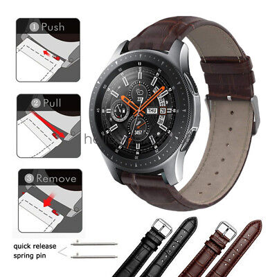 Crocodile Pattern Leather Watch Band Strap For Samsung Galaxy Watch 42mm 46mm Crocodile Leather Band