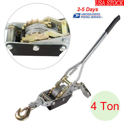 4ton Come Along Hoist Ratcheting Hand Cable Winch Puller Crane Comealong Usa