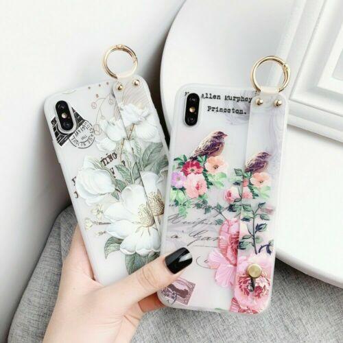 Flower Pattern Clear Slim Hand Strap Holder Case Cover For i