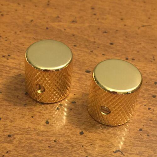 GUITAR KNOB SET - 2 Piece FLAT TOP Metal Barrel Style - GOLD