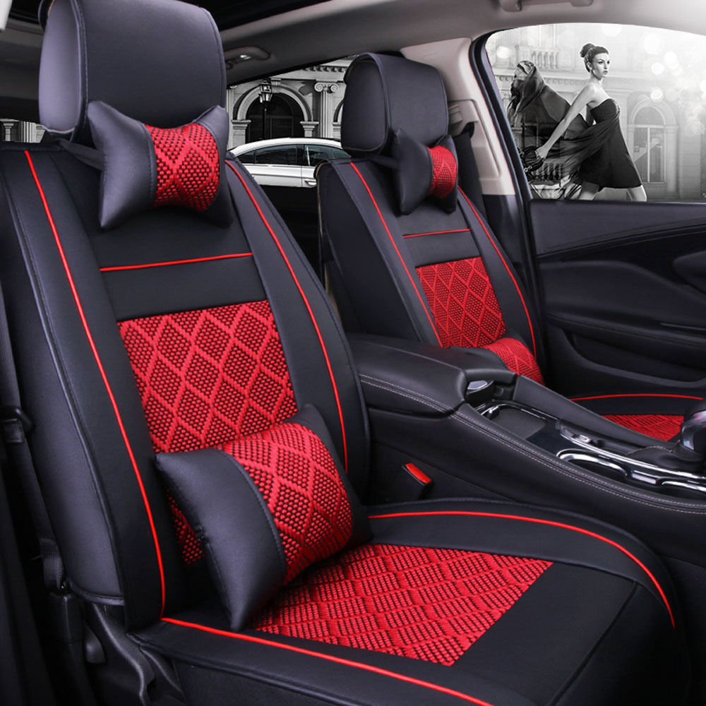 100 Pu Leather Cooling Mesh Seat Covers Us 5 Seats Car Suv Front Rear Cushions
