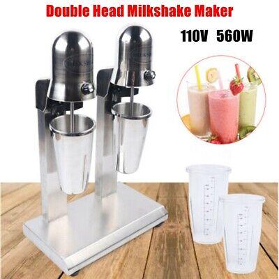 110v Commercial Double Head Milkshake Maker Mixer Stainless Steel Blender 560w