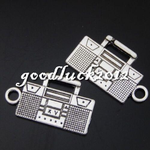 50599 Antique Silver Alloy Portable Radio Pendants Charms Cr