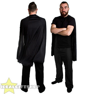 BLACK ADULTS SUPERHERO CAPE FANCY DRESS COSTUME COMIC BOOK FILM HERO HALLOWEEN