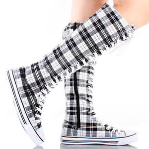 Womens Canvas Sneakers Punk Skate Shoes Flat Lace Up Knee High Boots Skater Tall