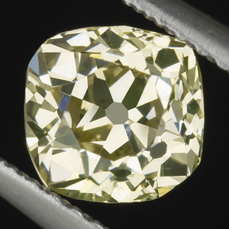 1.13ct GIA CERTIFIED OLD MINE CUT DIAMOND FANCY YELLOW VINTAGE ANTIQUE CUSHION