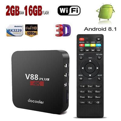 V88 Plus Smart Android8.1 TV BOX Quad Core 2GB+16GB 4K WIFI RK3229 Media Player Plus, Core 2 Quad