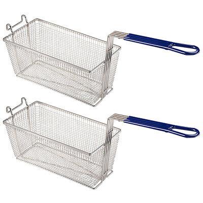 Commercial Restaurant Home 2pcs Deep Fryer Baskets W Non Slip Handle 13x6x6