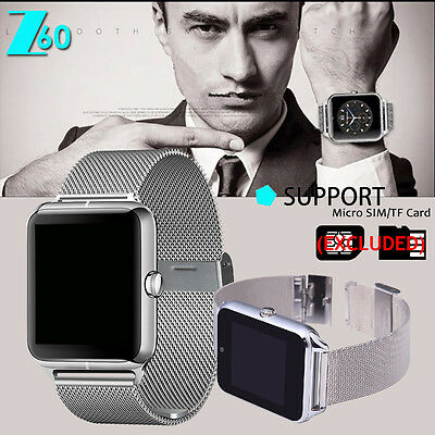Silver Bluetooth Smart Wrist On Steel Band  Phone Ally for Android iPhone Z60