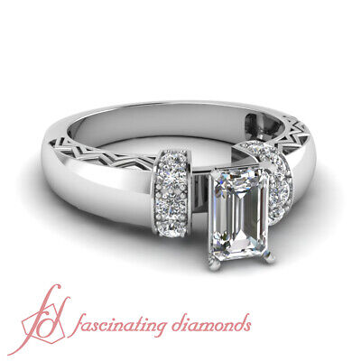1 Carat Emerald Cut Antique Inspired Diamond Rings In White Gold For Women GIA