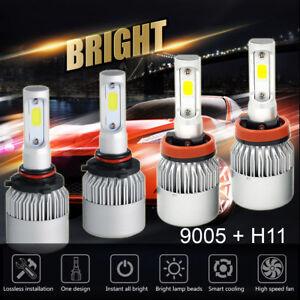 4 Bulbs Kit 2600W 390000LM 9005 H11 6000K Combo CREE LED Headlight High Low Beam