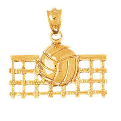 14k Yellow Gold VOLLEYBALL Pendant / Charm, Made in USA
