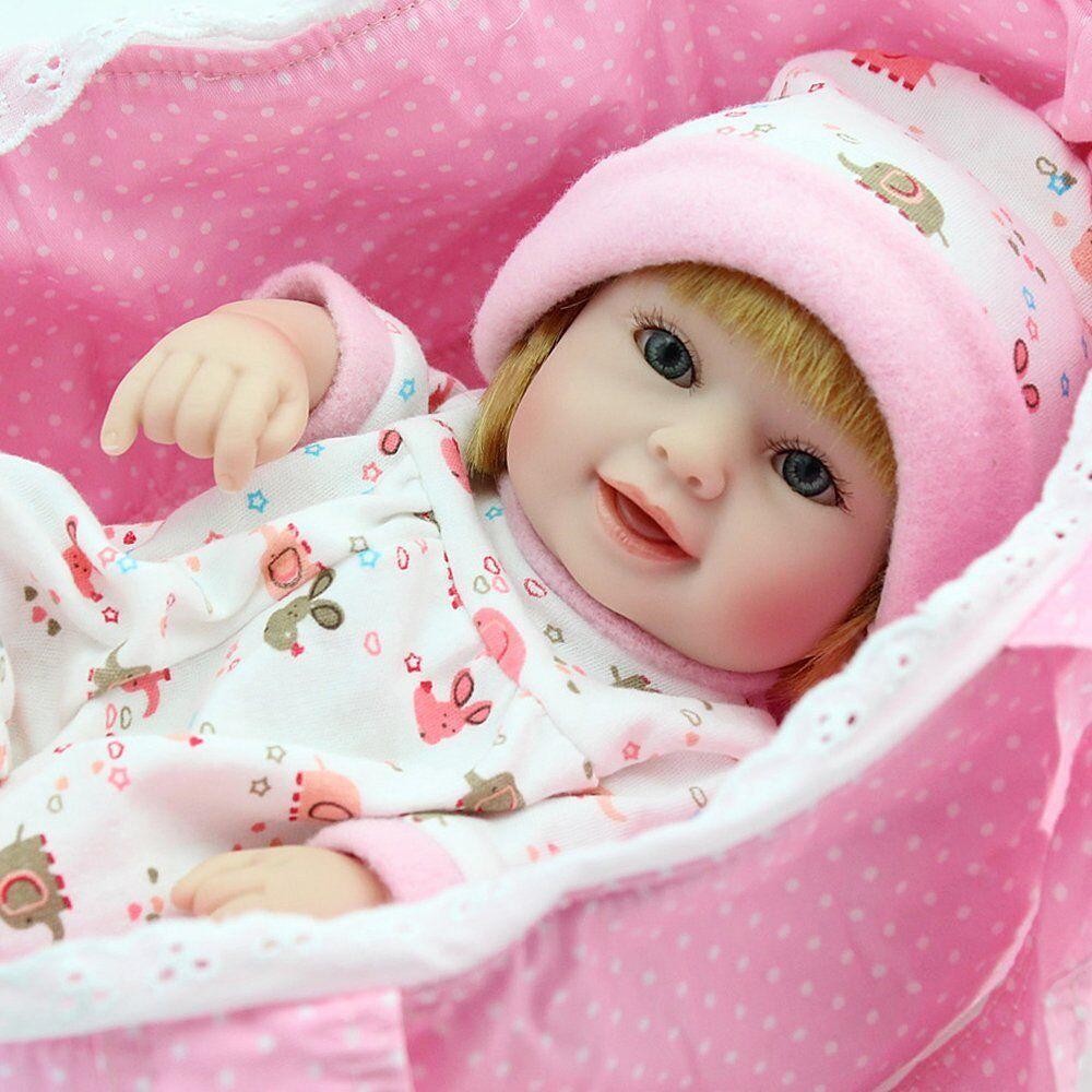 "10/"" Girl Full Vinyl Newborn Baby Lifelike Dolls Toys Reborn Dolls Baby Handmade"