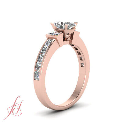 1.50 Ct Channel Set Wedding Ring With Oval Shaped Diamond In 14K Rose Gold GIA 2