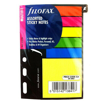 Filofax Book Multifit Small Assorted Sticky Notes Pocket Mini Refill 210136
