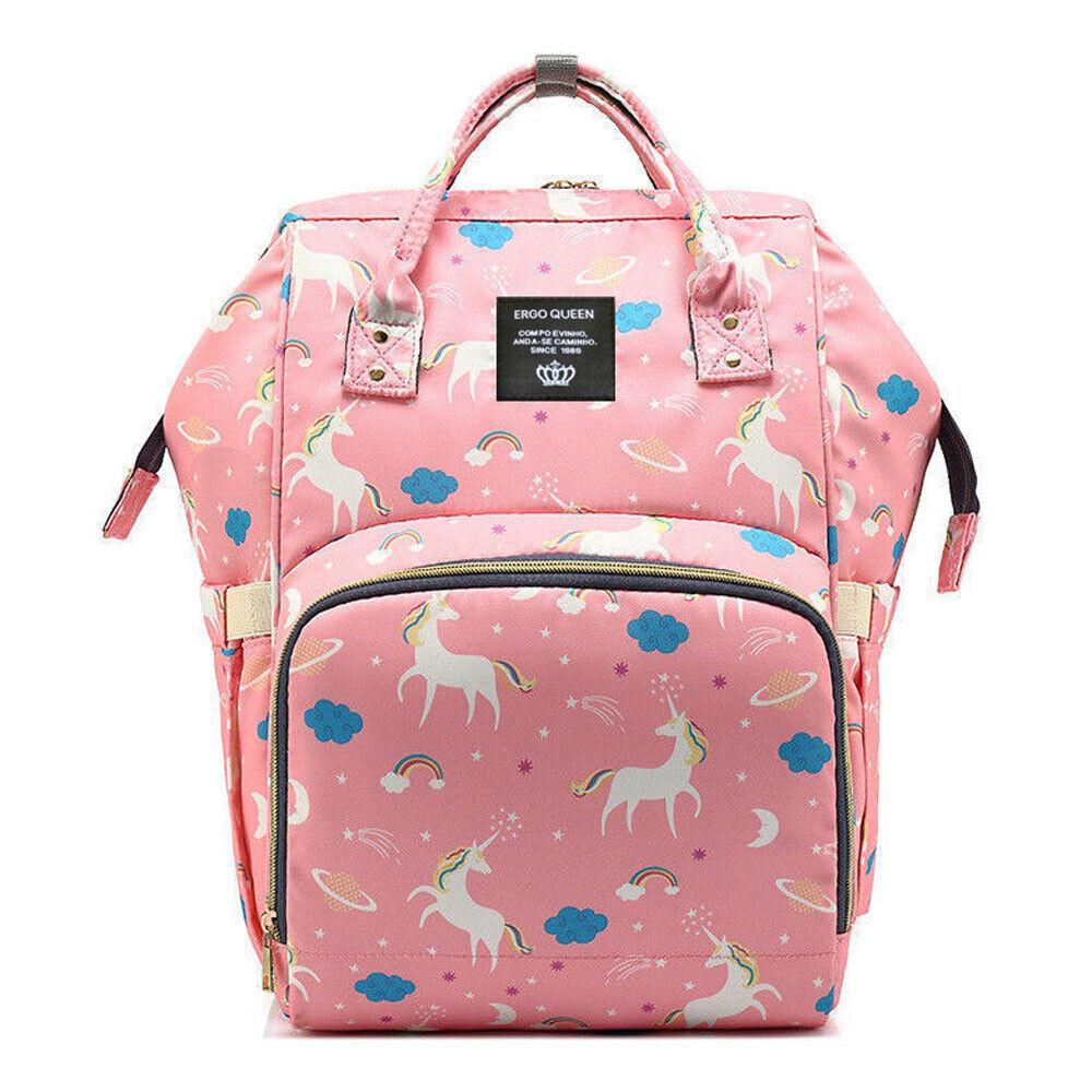 Ergo Diaper Bag Backpack Mummy Maternity Nappy Large Capacity Baby Bag Travel  Pink Unicorn