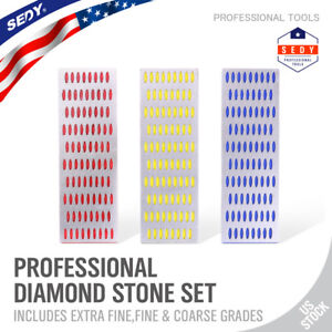3pc Large Diamond Knife Sharpening Hone Set Stone Whetstone Grind Kitchen