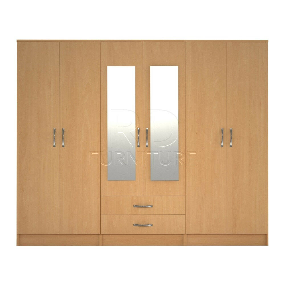 Beatrice wardrobe 4 you, 2,28m wide 6 door beech wardrobe