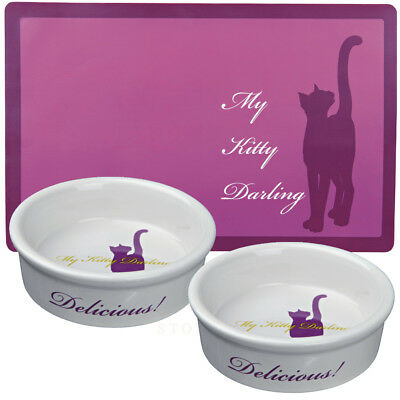 Trixie My Kitty Darling Ceramic Cat x 2 bowls 0.2 l/ø 12cm & Matching Placemat