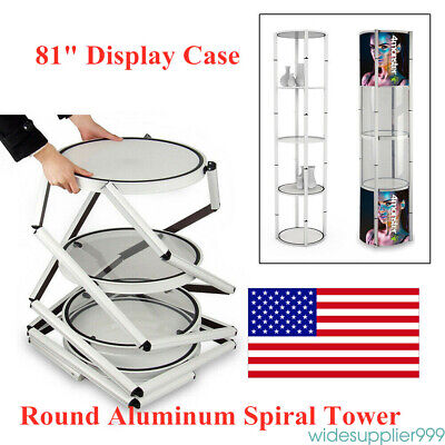 81 Round Aluminum Twister Tower Display Case With Shelves Top Light Business