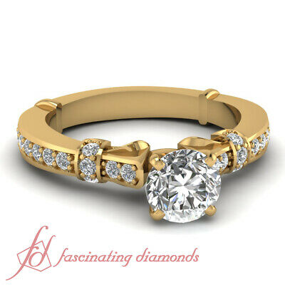 1 Ct Round Cut Diamond Tilted Band Pave Set Engagement Ring In Yellow Gold GIA