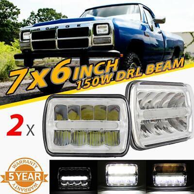 "2PCS 7x6"" 5x7"" 150W LED Headlights Chrome DRL Beam for Dodge Toyota Honda Jaguar"
