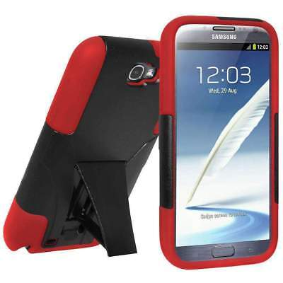 AMZER BLACK/ RED RUGGED HYBRID CASE KICKSTAND FOR SAMSUNG GALAXY NOTE 2 II N7100 for sale  Shipping to India