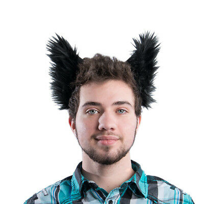PAWSTAR Furry Wolf Ear Headband - Halloween Costume Black Shadow dog [BK]3066 - Wolf Ears Costume