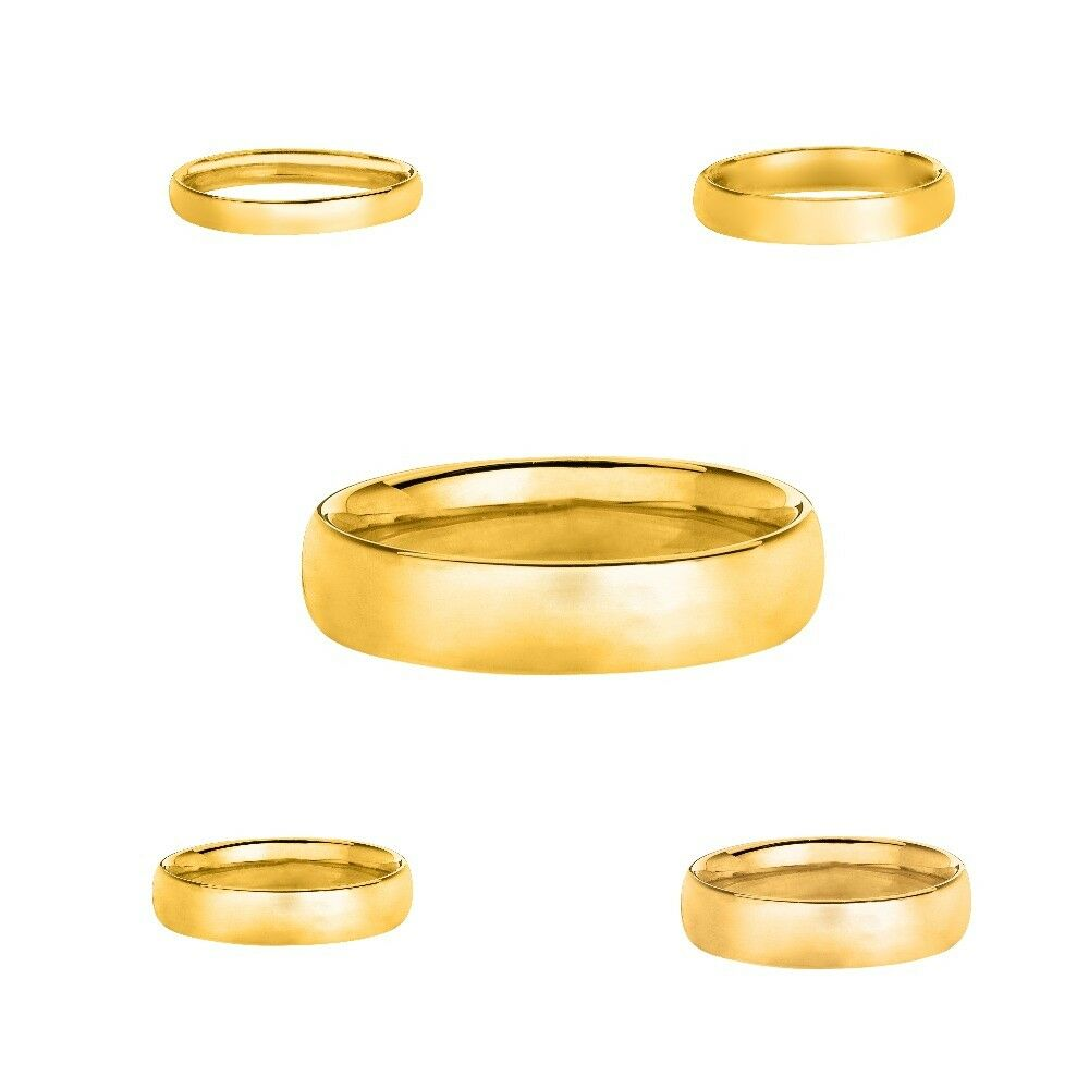 Comfort Fit  Mens Womens Gold Band Ring 2MM 3MM 4MM 5MM 6MM 7MM 8MM  His /& Hers Set 14K Yellow ALL Width Gold Wedding Band  Plain Matte