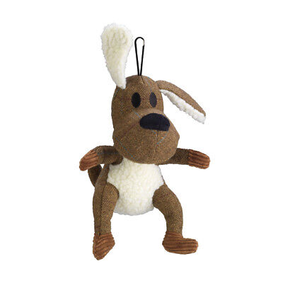 House of Paws Brown Tweed Dog Squeaky Dog Toy | Plush Soft Luxury Cuddly Catch