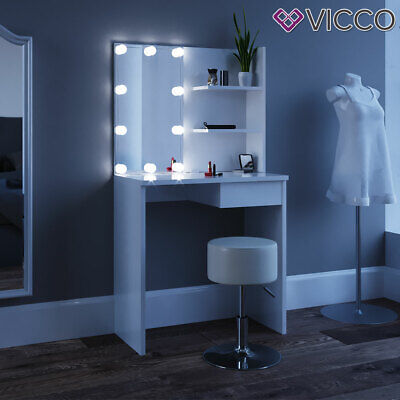 Vicco Mesa tocador Dekos Mesa maquillaje Espejo LED Blanco + taburete