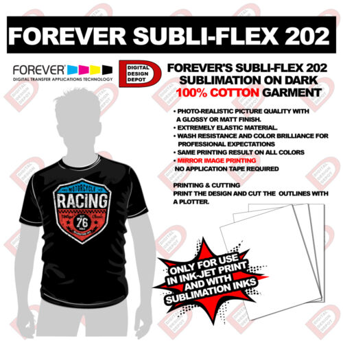 HEAT Transfer paper forever Subli-flex 202 Dark TShirts sublimation dark Cotton